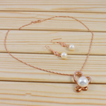 Natyrore kulturuar Pearl ujërave të ëmbla bizhuteri Sets, Pearl kulturuar ujërave të ëmbla, with Diamant i rremë, Round, natyror, e bardhë, 12-13mm, 8-9mm, :17Inç,  I vendosur