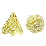 Messing Perlenkappe, Kegel, goldfarben plattiert, hohl, frei von Blei & Kadmium, 22x17mm, Bohrung:ca. 1.5mm, 1000PCs/Tasche, verkauft von Tasche