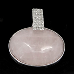Pendants Natyrore kuarc, Rose kuarc, Oval, 34x32x8mm, : 6mm, 10PC/Qese,  Qese