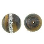 Syri Tiger Beads, Round, natyror, me diamant i rremë, 10mm, : 1.8mm, 10PC/Qese,  Qese