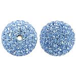 Tschechische Strass Perlen, Lehm pflastern, rund, mit 110 Stück Strass & mit tschechischem Strass, heller Saphir, 12mm, Bohrung:ca. 2mm, 10PCs/Tasche, verkauft von Tasche