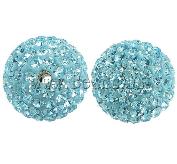 Çekë Beads diamant i rremë, Round, asnjë, me diamant i rremë, Akuamarin, PP13, 14mm, : 2mm, 10PC/Qese,  Qese