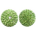 Çekë Beads diamant i rremë, Round, asnjë, me diamant i rremë, Peridot, PP13, 14mm, : 2mm, 10PC/Qese,  Qese