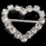 Diamant i rremë shtrëngoj, Tunxh, Zemër, asnjë, me diamant i rremë, asnjë, , nikel çojë \x26amp; kadmium falas, 17x15x2.50mm, 50PC/Qese,  Qese
