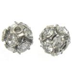 Beads bizhuteri Diamant i rremë, Round, asnjë, me diamant i rremë, Kristal, 6x6mm, : 1.2mm, 100PC/Qese,  Qese