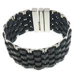 Herren-Armband & Bangle, Kuhhaut, mit 316 L Edelstahl, schwarz, 31.7mm, 18.5x32mm, verkauft per ca. 7 ZollInch Strang