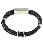 Herren-Armband & Bangle, Kuhhaut, mit 316 L Edelstahl, Emaille, schwarz, 12.8x16mm, 6mm, 33.3x13.7mm, verkauft per ca. 8.5 ZollInch Strang