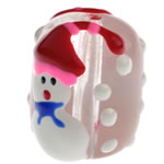 Krishtlindjeve Glass Beads, Xham, Daulle, brushwork, 18x14mm, : 2mm,  PC