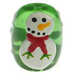 Krishtlindjeve Glass Beads, Xham, Daulle, brushwork, bari e gjelbër, 18x14.50mm, : 2mm,  PC