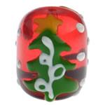 Krishtlindjeve Glass Beads, Xham, Daulle, brushwork, 17.50x14.50mm, : 2mm,  PC
