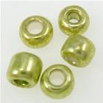 Silver Beads rreshtuar qelqi farë, Seed Glass Beads, e gjelbër, 2x1.90mm, : 1mm,  Qese