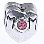 Beads European aliazh zink, Alloy zink, Zemër, pa karrem & me diamant i rremë, , nikel çojë \x26amp; kadmium falas, 8.50x10.50mm, : 4.7mm, 10PC/Qese,  Qese