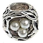 Beads European aliazh zink, Alloy zink, Daulle, me margaritar plastik & pa karrem, , nikel çojë \x26amp; kadmium falas, 9.50x8.50x9.50mm, : 4.5mm, 10PC/Qese,  Qese
