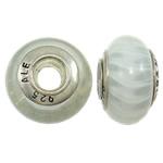 Lampwork Style European, Rondelle, core bronzi vetme me karrem, 8x14mm, : 4.5mm, 10PC/Qese,  Qese