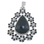 Pendants Zi agat, Black agat, Lot, ngjyrë platin praruar, me diamant i rremë, 34.30x50.50x8mm, : 7x4mm, 10PC/Qese,  Qese