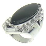 Ring Finger gur i çmuar, Black agat, 23.5x61mm, 18.5mm, :7.5, 10PC/Qese,  Qese