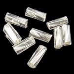 Bugles Seed Perlen drehen, Glas-Rocailles, Rohr, transparent & Twist, klar, 3.5x7mm, Bohrung:ca. 1mm, verkauft von Tasche
