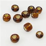 Silbereinzug Glas Rocailles, Glas-Rocailles, rund, braun, 2x3mm, Bohrung:ca. 1mm, verkauft von Tasche