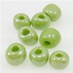 Lustered Glass Beads farë, Seed Glass Beads, e gjelbër, 3x3.60mm, : 1mm,  Qese
