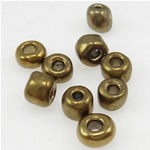 Plattierte Glas Rocailles, Glas-Rocailles, rund, antik goldfarben, 3x3.60mm, Bohrung:ca. 1mm, verkauft von Tasche