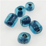 Innen Farben Glas Rocailles, Glas-Rocailles, blau, 3x3.60mm, Bohrung:ca. 1mm, verkauft von Tasche