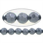 Glass Beads Pearl, Glass Pearl, Round, faceted, 10mm, : 0.8mm, : 16Inç, 10Fillesat/Shumë,  Shumë