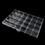 Nail bizhuteri Box, ABS plastike, Drejtkëndësh, asnjë, i tejdukshëm, e bardhë, 181x130x24.50mm,  PC