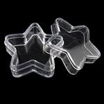 Nail bizhuteri Box, Plastik, Yll, asnjë, i tejdukshëm, e bardhë, 36x34.50x15.50mm, 12PC/Qese,  Qese