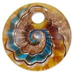 Pendants Lampwork Fashion, Monedhë, rërë ari dhe argjendi me letër varaku, 44.50x10mm, : 8mm, 10PC/Qese,  Qese