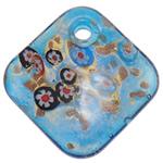 Lampwork Millefiori Fetë Pendants, Romb, rërë ari, 50x50.50x11mm, : 5.5mm, 10PC/Qese,  Qese