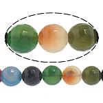 Natürliche Regenbogen Achat Perlen, rund, facettierte, 4mm, Bohrung:ca. 0.8-1mm, Länge:ca. 14.5 ZollInch, 10SträngeStrang/Menge, ca. 90PCs/Strang, verkauft von Menge