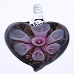 Pendants Inner Lampwork Lule, Zemër, lule e brendshme, 43x38.50x12.50mm, : 7.5mm, 10PC/Qese,  Qese
