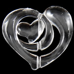 Beads transparente akrilik, Zemër, i tejdukshëm, 29x25.80x6.70mm, : 1.5mm, 275PC/Qese,  Qese