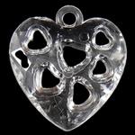 Pendants akrilik, Zemër, i tejdukshëm, 24.50x26.50x7mm, : 3mm, 380PC/Qese,  Qese