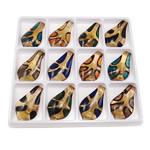 Rërë Pendants Gold Lampwork, Gjethe, rërë ari, ngjyra të përziera, 62x35x8mm, : 9x6mm, 12PC/Kuti,  Kuti