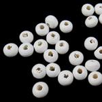 Beads druri, Round, i lyer, e bardhë, 3x4mm, : 1.5mm, 20830PC/Qese,  Qese