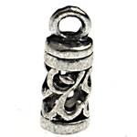 Zink Alloy Cap Fundi, Alloy zink, Tub, Ngjyra antike argjendi praruar, i uritur, asnjë, , nikel çojë \x26amp; kadmium falas, 17.70x6.50mm, : 2.8mm, 475PC/Qese,  Qese