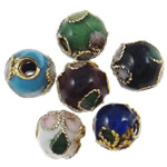 Beads filigran Cloisonne, Round, asnjë, 12mm, : 2.5mm, 100PC/Qese,  Qese