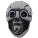 Antique Beads akrilik, Kafkë, i errët, Antique imitim, e bardhë, 25.50x17.50x14mm, : 2.5mm, 150PC/Qese,  Qese