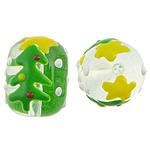 Krishtlindjeve Lampwork, Daulle, 14x17.20mm, : 2mm,  PC