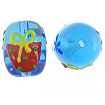 Weihnachten Lampwork Perlen, Trommel, 14x17.80mm, Bohrung:ca. 2mm, verkauft von PC