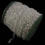 Zinxhiri Iron Oval, Hekur, Ngjyra argjend praruar, asnjë, , nikel çojë \x26amp; kadmium falas, 6x8x1.20mm, :50m,  PC
