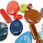 Beads xham porcelani, Shape përziera, xham, ngjyra të përziera, 10-40mm, : 2-4mm,  Qese