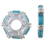 Beads European aliazh zink, Alloy zink, Rondelle, me diamant i rremë akrilik & pa karrem, , nikel çojë \x26amp; kadmium falas, 13x12.50x2mm, : 4.5mm, 10PC/Qese,  Qese