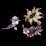 Moda karficë bizhuteri, Alloy zink, Lule, pikturë, me diamant i rremë, ngjyra të përziera, , nikel çojë \x26amp; kadmium falas, 42-50mm, 10PC/Qese,  Qese