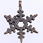 Pendants aliazh zink Krishtlindjeve, Alloy zink, Flok dëbore, ngjyrë bakri të praruar antike, asnjë, , nikel çojë \x26amp; kadmium falas, 23.50x18x3.50mm, : 2.5mm, 769PC/Qese,  Qese