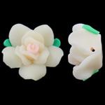 Polymer Ton Perlen , Blume, weiß, 20x12mm, Bohrung:ca. 2mm, 100PCs/Tasche, verkauft von Tasche