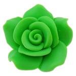Polymer Ton Perlen , Blume, grün, 24x23x11.50mm, Bohrung:ca. 2mm, 100PCs/Tasche, verkauft von Tasche