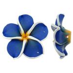 Beads polimer balta, Polymer Clay, Lule, asnjë, blu, 32x30.50x11.50mm, : 2mm, 100PC/Qese,  Qese