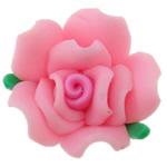 Beads polimer balta, Polymer Clay, Lule, asnjë, rozë, 16x16x10mm, : 2mm, 100PC/Qese,  Qese